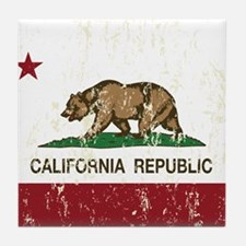 California Republic Distressed Flag Tile Coaster