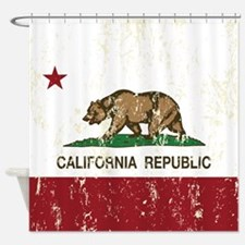 California Republic Distressed Flag Shower Curtain