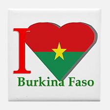 I love Burkina Faso Tile Coaster