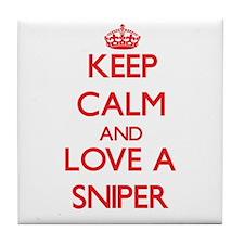 Keep Calm and Love a Sniper Tile Coaster