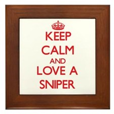 Keep Calm and Love a Sniper Framed Tile