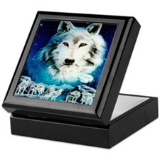 Cute Ghost wolf Keepsake Box
