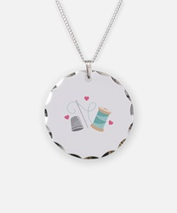 Heart Sewing supplies Necklace
