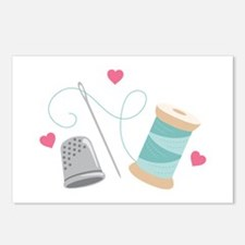 Heart Sewing supplies Postcards (Package of 8)