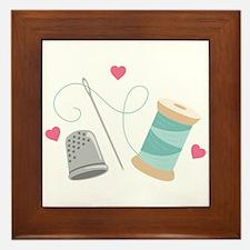 Heart Sewing supplies Framed Tile