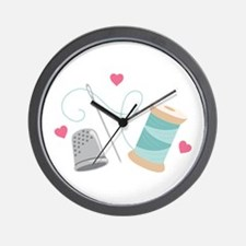 Heart Sewing supplies Wall Clock