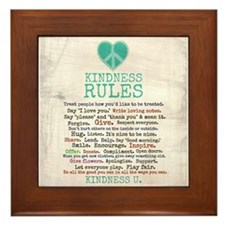 Kindness Rules Framed Tile