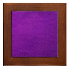 Purple textured stripes Framed Tile