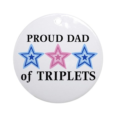 Dad of Triplets (Boys, Girl) Stars Ornament (Round
