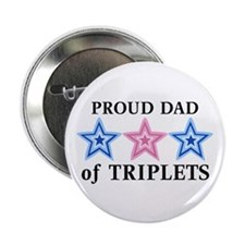 Dad of Triplets (Boys, Girl) Stars Button