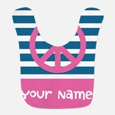 Peace Pink and Blue Stripes Bib