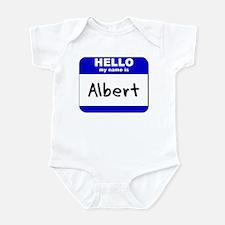 hello my name is albert  Infant Bodysuit