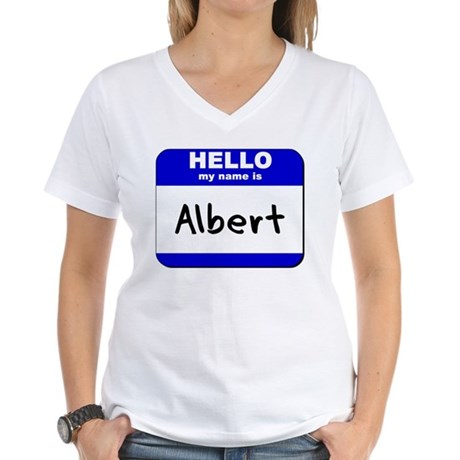 hello my name is albert Women's V-Neck T-Shirt