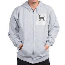 chihuahua gray 1 Zip Hoodie
