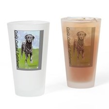 Curly Coated Retriever Stand Drinking Glass