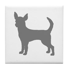 chihuahua gray 1C Tile Coaster