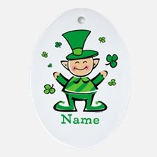 Personalized Wee Leprechaun Ornament (Oval)