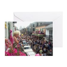 Mardi gras Party on Bourbon Street Greeting Card