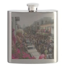 Mardi gras Party on Bourbon Street Flask