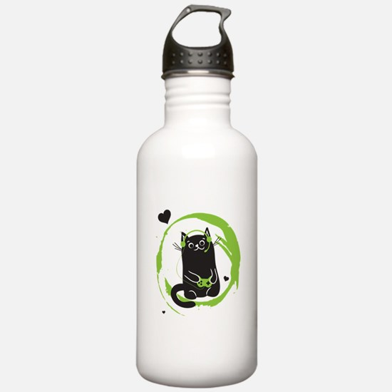 Gamer Cat Water Bottle