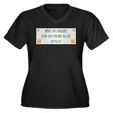 Hugged Kelpie Women's Plus Size V-Neck Dark T-Shir