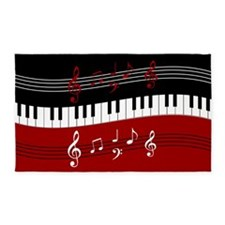 Stylish Piano keys and musical notes 3'x5' Area Ru