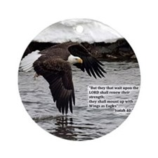 Wings of Eagles with Isaiah 40:31 Ornament (Round)