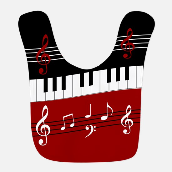 Stylish Piano keys and musical notes Bib