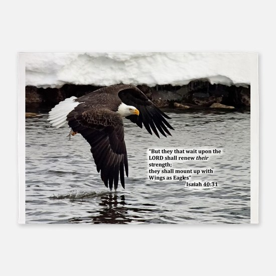 Wings of Eagles with Isaiah 40:31 5'x7'Area Rug