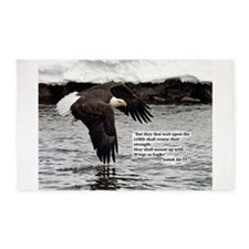 Wings of Eagles with Isaiah 40:31 3'x5' Area Rug