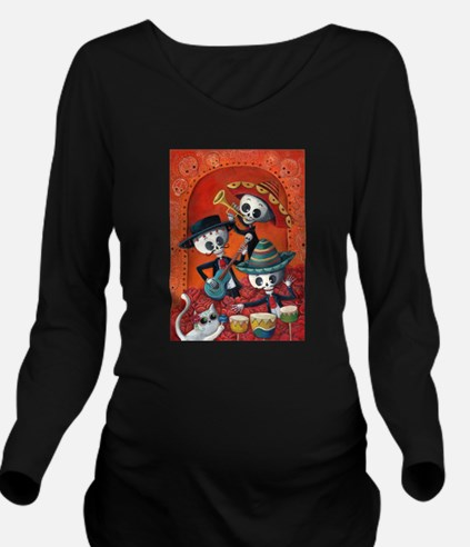 Mexican skeleton musicians Long Sleeve Maternity T