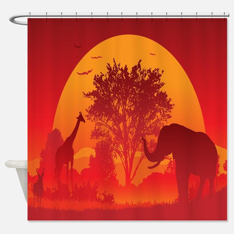 African Safari Shower Curtains | African Safari Fabric Shower Curtain ...