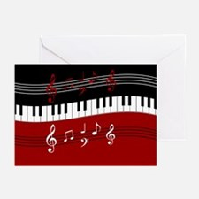 Stylish Piano keys and musical notes Greeting Card