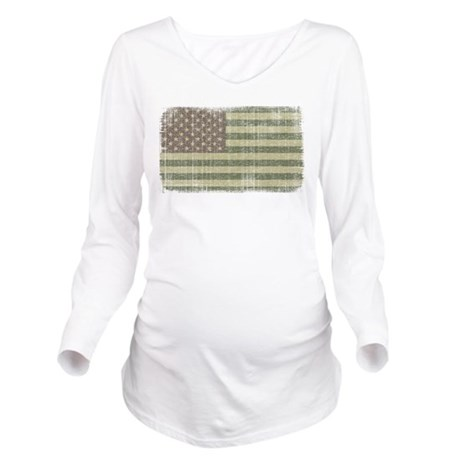 Camo American Flag [Vintage] Long Sleeve Maternity