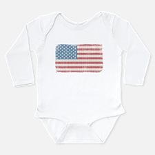 Vintage American Flag Long Sleeve Infant Bodysuit