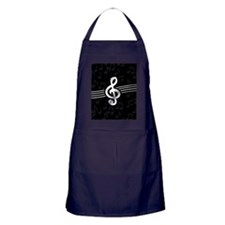 Stylish clef on musical note background Apron (dar