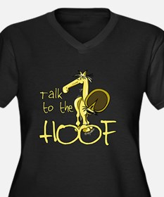 Talk to the Hoof Women's Plus Size V-Neck Dark T-S