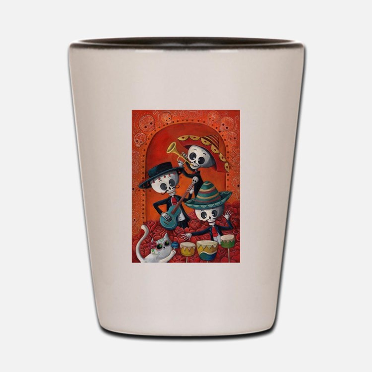 Mexican skeleton musicians Shot Glass