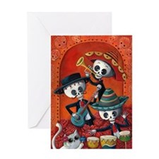Mexican skeleton musicians Greeting Cards