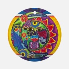 Aztec Sun and Moon Round Ornament