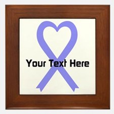 Personalized Periwinkle Ribbon Heart Framed Tile