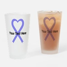 Personalized Periwinkle Ribbon Hear Drinking Glass