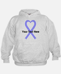 Personalized Periwinkle Ribbon Heart Hoodie