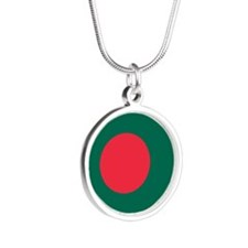 Bangladesh Flag Silver Round Necklace