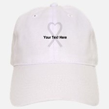 Personalized Pearl Ribbon Heart Baseball Baseball Cap