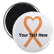 """Personalized Peach Ribbon H 2.25"""" Magnet (10 pack)"""