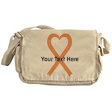 Personalized Peach Ribbon Heart Messenger Bag