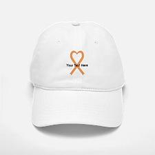 Personalized Peach Ribbon Heart Baseball Baseball Cap