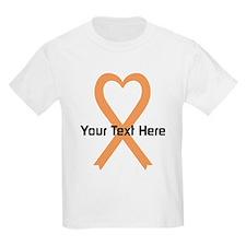 Personalized Peach Ribbon Heart T-Shirt