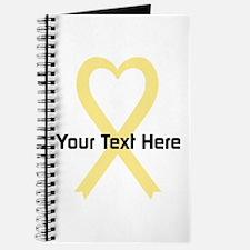 Personalized Pale Yellow Ribbon Heart Journal